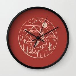 Explore world no internet dino Wall Clock