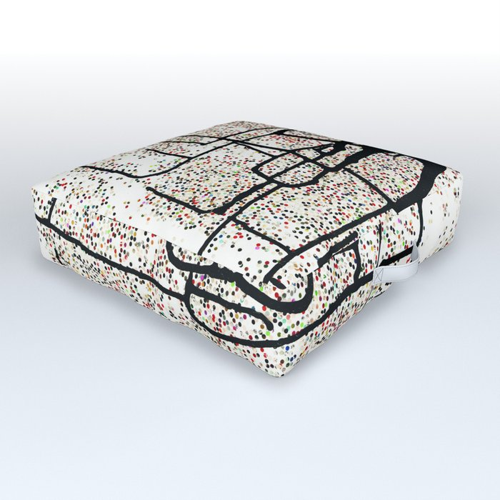 Modern abstract original mixed media (sumi ink and recycled hole punch paper) 'monacle dot' Outdoor Floor Cushion