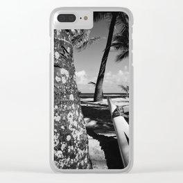 Kuau Beach Palm Trees and Hawaiian Outrigger Canoe Paia Maui Hawaii Clear iPhone Case
