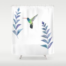 Hummingbird with tropical leaves watercolor design Shower Curtain