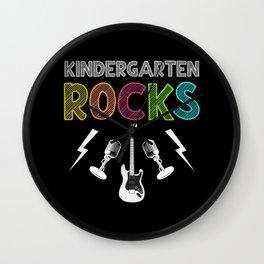 First Day of Kindergarten Rocks Guitar Lover Kid Wall Clock
