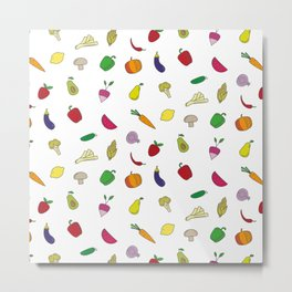 Colorful vegetables and fruit pattern Metal Print