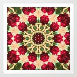 Old Red Rose Kaleidoscope 8 Art Print