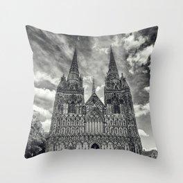 Lichfield Cathedral mono Throw Pillow