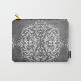 Mandala Vintage White on Ocean Fog Gray Carry-All Pouch