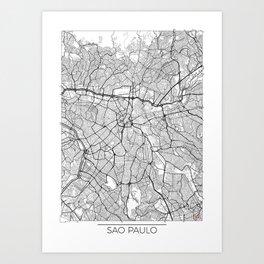 Sao Paulo Map White Art Print