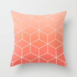 Living Coral Gradient - Geometric Cube Design Throw Pillow