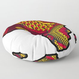 Red and Gold Africa Map Floor Pillow