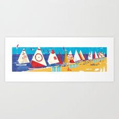 Sailboats on the Beach Art Print