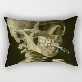 Head of a Skeleton with a Burning Cigarette Rectangular Pillow