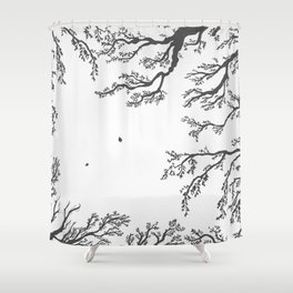 tree branches with birds and leaves on a light background Shower Curtain