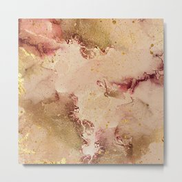 Abstract Watercolor Paint Splashes Metal Print
