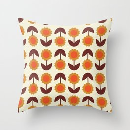 Retro 70s Wallpaper Flowers Throw Pillow