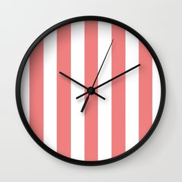 Light coral pink - solid color - white vertical lines pattern Wall Clock
