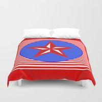 patriotic Duvet Covers featuring Patriotic Star by Bright Vibes Design