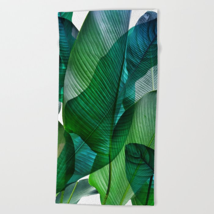 Palm Leaf Jungle Bali Banana Palm Frond Greens Beach Towel by Society6
