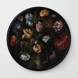 Jacob Vosmaer - A Vase with Flowers (1613) Wall Clock