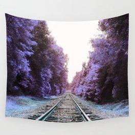 Train Tracks : Violet Blue Dreams Wall Tapestry