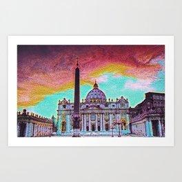 Vatican City Artistic Illustration Crazy Style Art Print