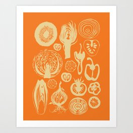 Adorned Fruit and Vegetable Box in Orange and Cream Art Print