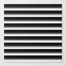 Stripes Black Gray & White Ombre Canvas Print
