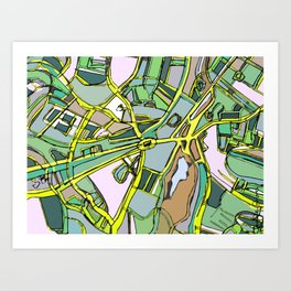 Abstract Map Brookline Art Print