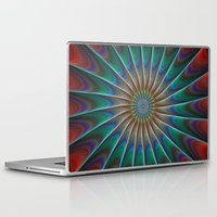 fractal Laptop & iPad Skins featuring Peacock fractal by David Zydd