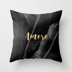 Love (amore) gold - bw banana leaf Throw Pillow