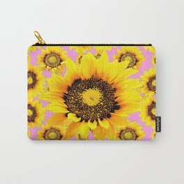 Pink Art Yellow Stylized Sunflowers Pattern Carry-All Pouch