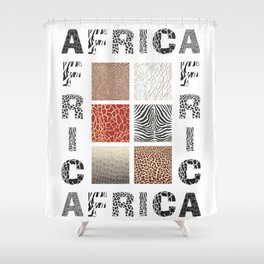 Africa - background with text and texture wild animal Shower Curtain