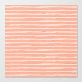 Sweet Life Thin Stripes Peach Coral Pink Canvas Print