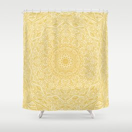 Most Detailed Mandala! Yellow Golden Color Intricate Detail Ethnic Mandalas Zentangle Maze Pattern Shower Curtain