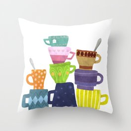 Coffee And Tea Cups And Mugs Stacked High Throw Pillow