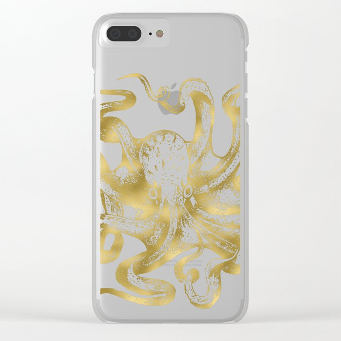 Gold Octopus Clear iPhone Case