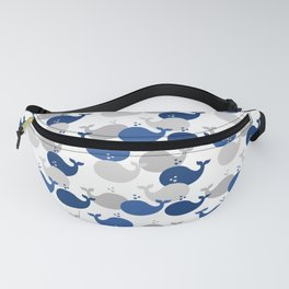 Nautical Whale Navy Blue Gray Fanny Pack