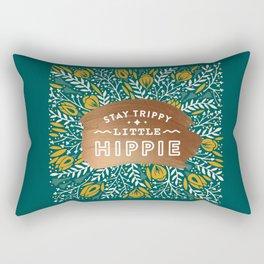 Stay Trippy Little Hippie – Teal Palette Rectangular Pillow