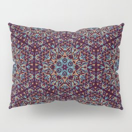 Brown and blue geometric Mandala Rich ornament Pillow Sham