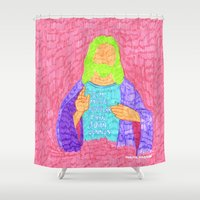 christ Shower Curtains featuring jesus christ by Marina Nosequé