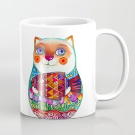 CAT  - Russian  Doll  - Matrioshka-  Artist Oxana Zaika Coffee Mug