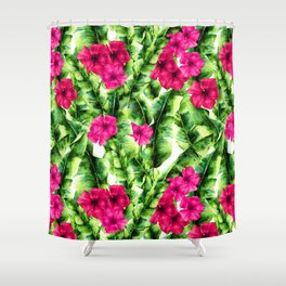 green banana palm leaves and pink flowers Shower Curtain