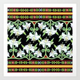 Elizabethan Lily Folkloric Stripe Art Print