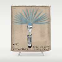 sonic Shower Curtains featuring Sonic Screwdriver by Jarom Ward