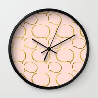gold foil Wall Clocks featuring Pink Gold Foil 01 by Aloke Design