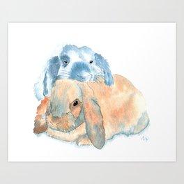 Two Rabbits Art Print