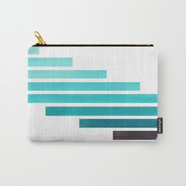 Blue Teal Turqoise Midcentury Modern Minimalist Staggered Stripes Rectangle Geometric Aztec Pattern Carry-All Pouch