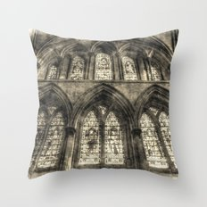 Rochester Cathedral Stained Glass Windows Vintage Throw Pillow