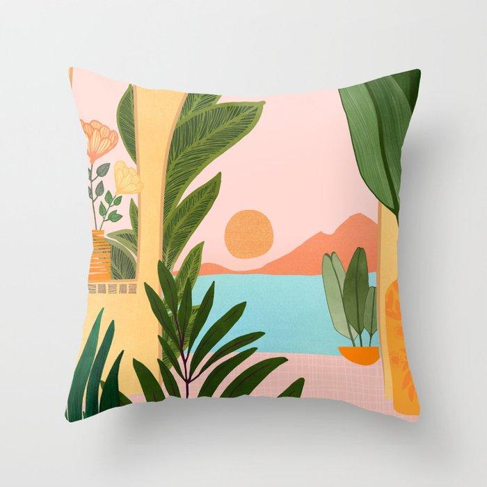 Moroccan Coast - Tropical Sunset Scene Throw Pillow