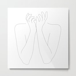 minimal drawing of woman's arms - fright Metal Print