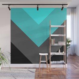 Aqua Gray Chevron Stripes Wall Mural