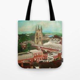 Tamworth, Staffordshire, England Impressionist Cityscape Fine Art Tote Bag